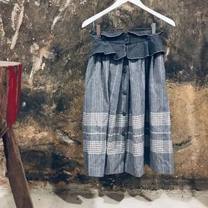 Nik Nik vintage Italian gray wool plaid skirt